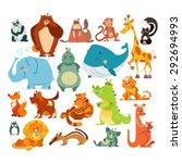 Stock vector set of cute kawaii cartoon animals panda bear bear monkey giraffe skunk elephant hippo 292694993