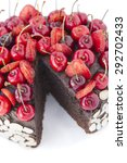 chocolate cake with cherries. | Shutterstock . vector #292702433