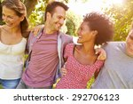 four friends walking together... | Shutterstock . vector #292706123