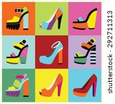 retro pop art women platform...   Shutterstock .eps vector #292711313