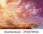 illustration  the flying turtle ... | Shutterstock . vector #292874963