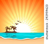 vector sunset and island view... | Shutterstock .eps vector #292959623