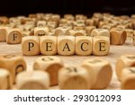 Peace Word Written On Wood Block