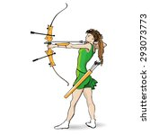 sports archery  a girl in a... | Shutterstock .eps vector #293073773