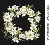 wreath with watercolor freesia... | Shutterstock . vector #293087303