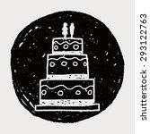 wedding cake doodle | Shutterstock . vector #293122763