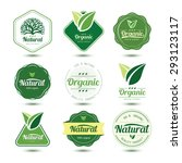 organic labels and badges with... | Shutterstock .eps vector #293123117