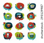kitchenware badge flat banner... | Shutterstock . vector #293129987