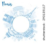 outline paris skyline with blue ... | Shutterstock . vector #293135117