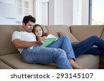 romantic relaxed young couple...   Shutterstock . vector #293145107