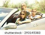 three friends in cabriolet ... | Shutterstock . vector #293145383