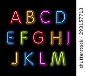 neon glow alphabet. vector... | Shutterstock .eps vector #293157713