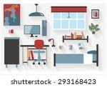 teen bedroom furniture with... | Shutterstock .eps vector #293168423