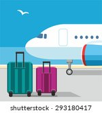 the plane  suitcases  seagull ...   Shutterstock .eps vector #293180417