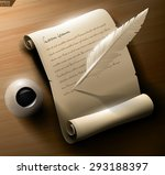 old manuscript scroll with ink... | Shutterstock .eps vector #293188397