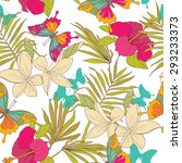 seamless pattern with tropical... | Shutterstock .eps vector #293233373
