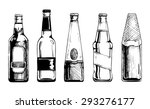 Vector Set Of Beer Bottles In...