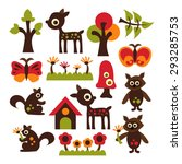 woodland animals. cute vector.... | Shutterstock .eps vector #293285753