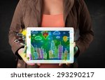 young person showing tablet... | Shutterstock . vector #293290217