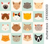 Stock vector set of cute cats icons vector flat illustrations cat breeds pattern card game graphics 293300033