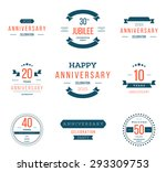 vector set of anniversary signs ... | Shutterstock .eps vector #293309753