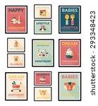 baby poster flat banner design... | Shutterstock . vector #293348423