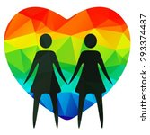 lesbian couple and rainbow... | Shutterstock .eps vector #293374487