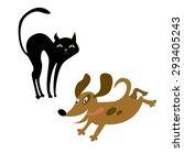 cat and dog | Shutterstock . vector #293405243