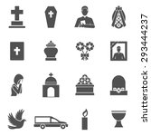 funeral black icons set with... | Shutterstock .eps vector #293444237