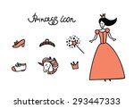 set of doodle princess and... | Shutterstock .eps vector #293447333