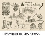 hand drawn new zealand icons ... | Shutterstock .eps vector #293458907