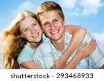 portrait of a happy couple... | Shutterstock . vector #293468933