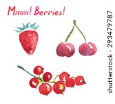 watercolor berries. cherries ... | Shutterstock .eps vector #293479787