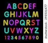 neon glow alphabet. vector... | Shutterstock .eps vector #293531477
