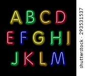 neon glow alphabet. vector... | Shutterstock .eps vector #293531537