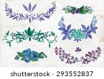 watercolor vector set with... | Shutterstock .eps vector #293552837