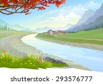 river flowing by a peaceful town | Shutterstock .eps vector #293576777