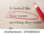 Small photo of Red pencil circle around incorrect spelling -- Editor proof reader or teacher concept