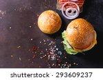 Fresh Homemade Burger On Black...