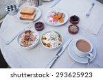 breakfast with cup of black... | Shutterstock . vector #293625923
