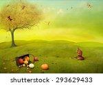 Bright Autumn Landscape Field...