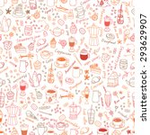 vector seamless coffee  sweets... | Shutterstock .eps vector #293629907
