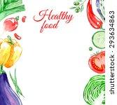healthy vegetarian food. frame. ... | Shutterstock .eps vector #293634863