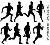 set of silhouettes. runners on... | Shutterstock .eps vector #293638757