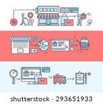set of thin line flat design... | Shutterstock .eps vector #293651933