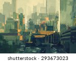 Cityscape Painting Of Urban Sk...