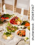 festive table with fruit and... | Shutterstock . vector #293691467