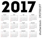 Calendar For 2017 On White...