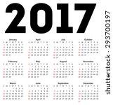 Calendar For 2017 On White...