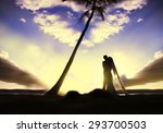 romantic wedding under palm tree | Shutterstock . vector #293700503